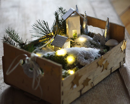 Pueblo navideño reciclado