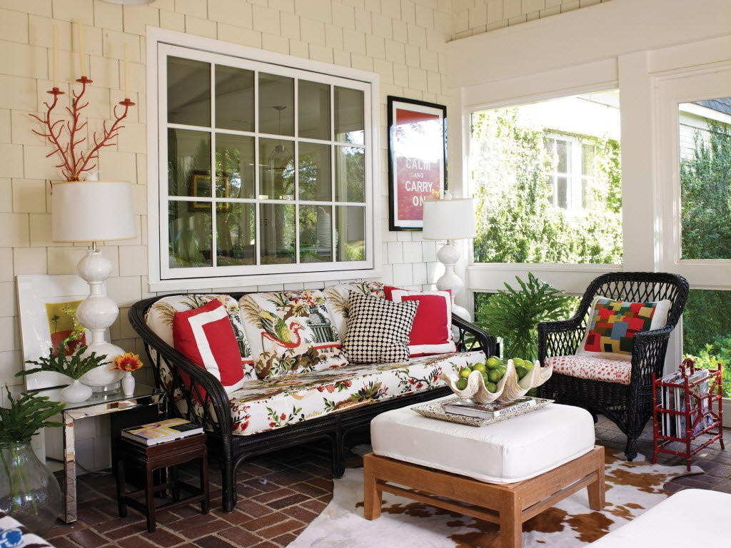 Sala de estar en terraza o porche
