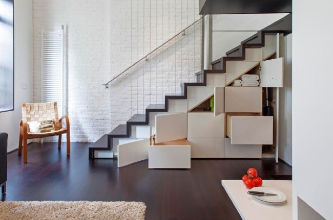 armario empotrado bajo escalera decoracion pasillos modernos