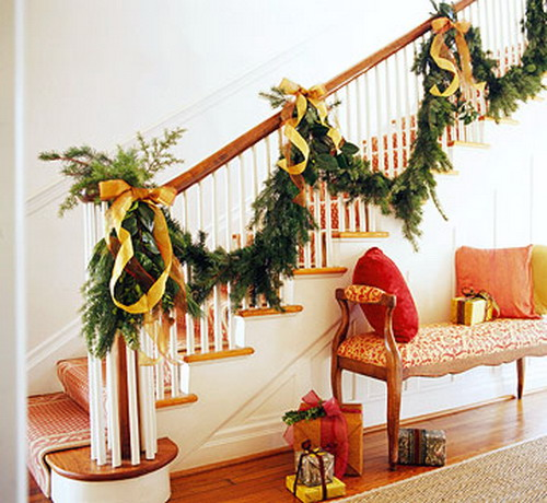 decoracion escaleras en navidad