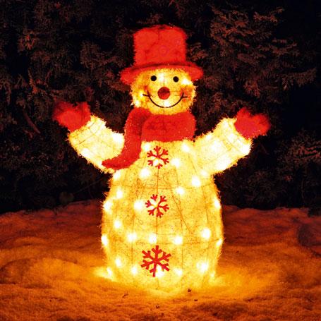 diseño jardin muñeco de nieve con luz