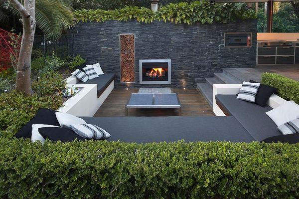diseño jardines con chimenea