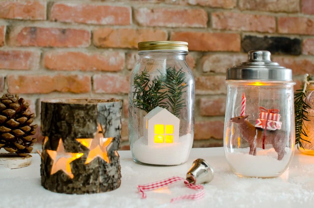 sencilla decoracion de tarros navideños
