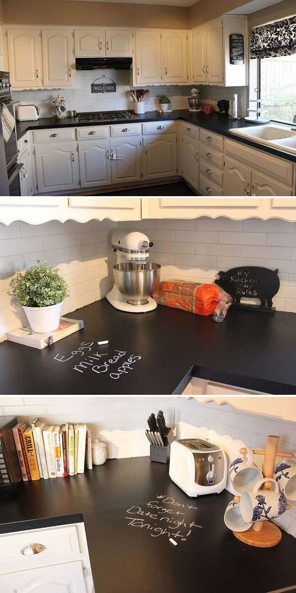 Cocina con encimera de pizarra