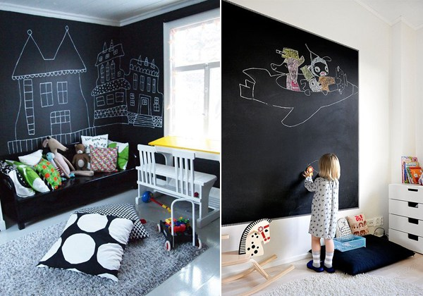 creativa decoracion con pintura pizarra