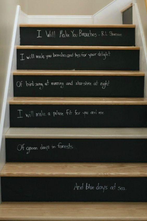 decoracion escaleras con pintura pizarra