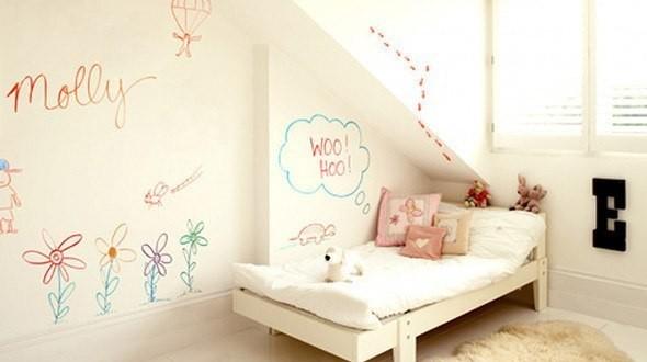 Decoracion paredes en pintura pizarra de colores hoy lowcost - Pintura pizarra colores ...