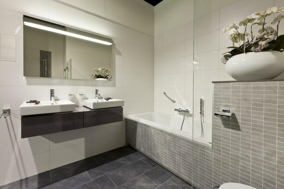 diseño baños doble lavabo suspendido