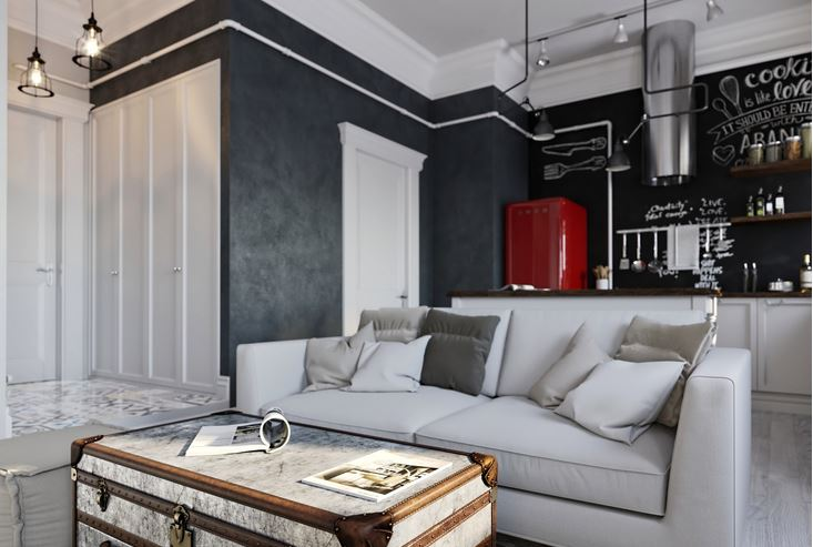 Salones cocina integrada con pintura de pizarra hoy lowcost - Pinturas de salon ...