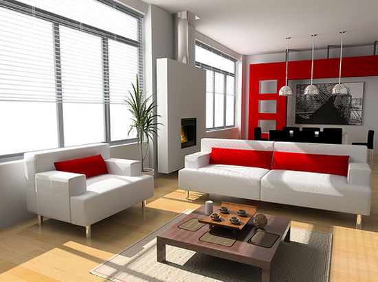 Como decorar salones en blanco y rojo