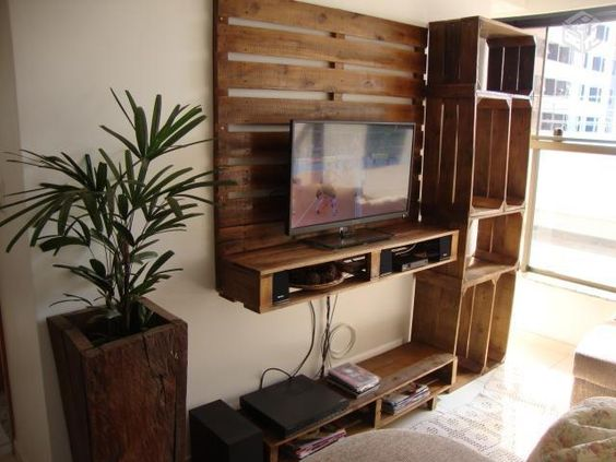 ideas con palets muebles tv