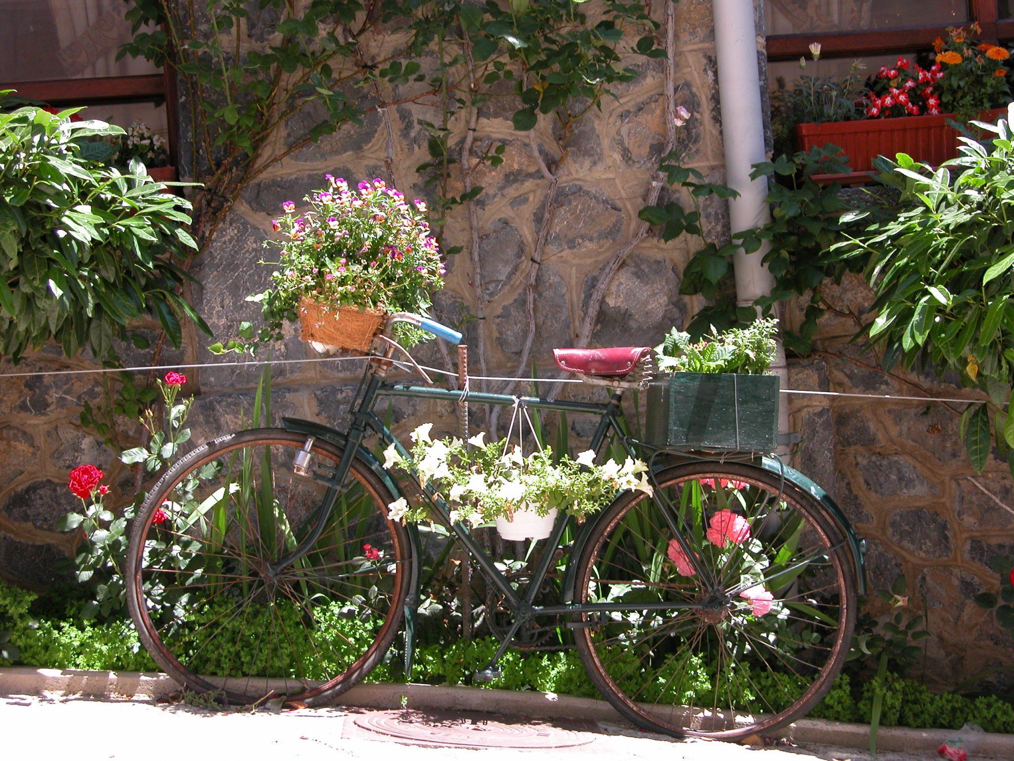 objetos reciclados jardines rusticos