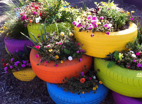 ruedas recicladas jardines