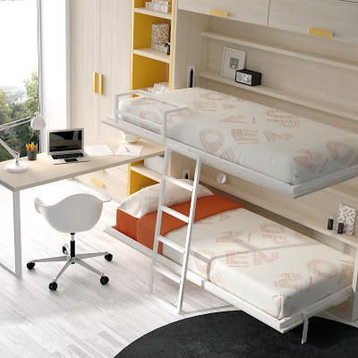 Literas abatibles soluci n en habitaciones compartidas for Mueble cama plegable conforama