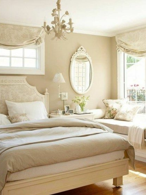 dormitorio vintange colores neutros
