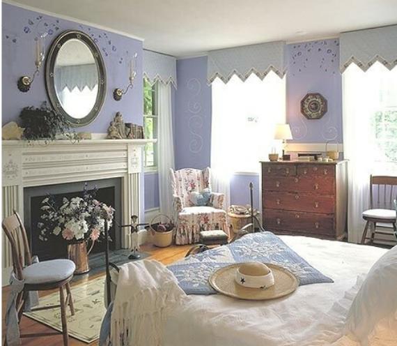 dormitorio vintange con chimienea