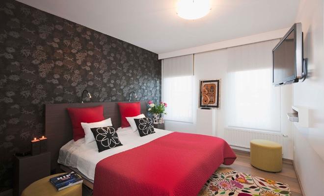 dormitorios matrimonio rojo y negro