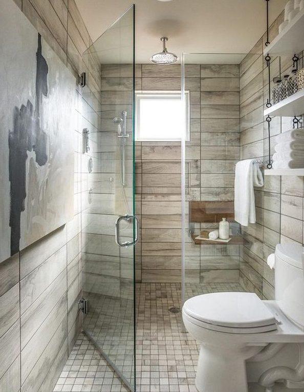decoracion baño con ducha rustico