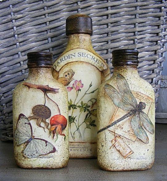 botellas decoradas decoupage