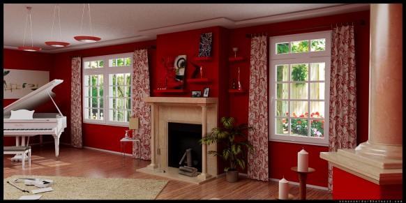 decoracion salones en rojo