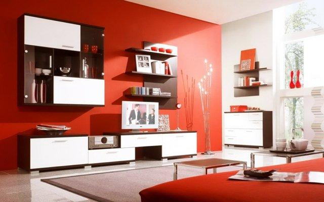 decorar salon en rojo