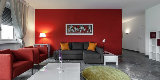 pared roja en sala de estar hoy lowcost
