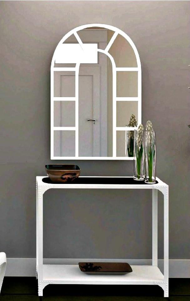 recibidor con espejo blanco