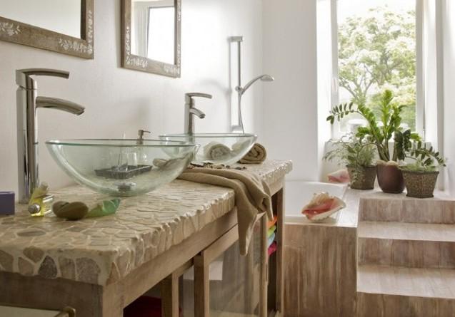 diseño baño marmol piegra y cristal