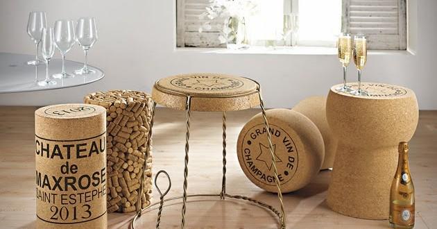 Complementos y muebles de corcho. Interiorismo original